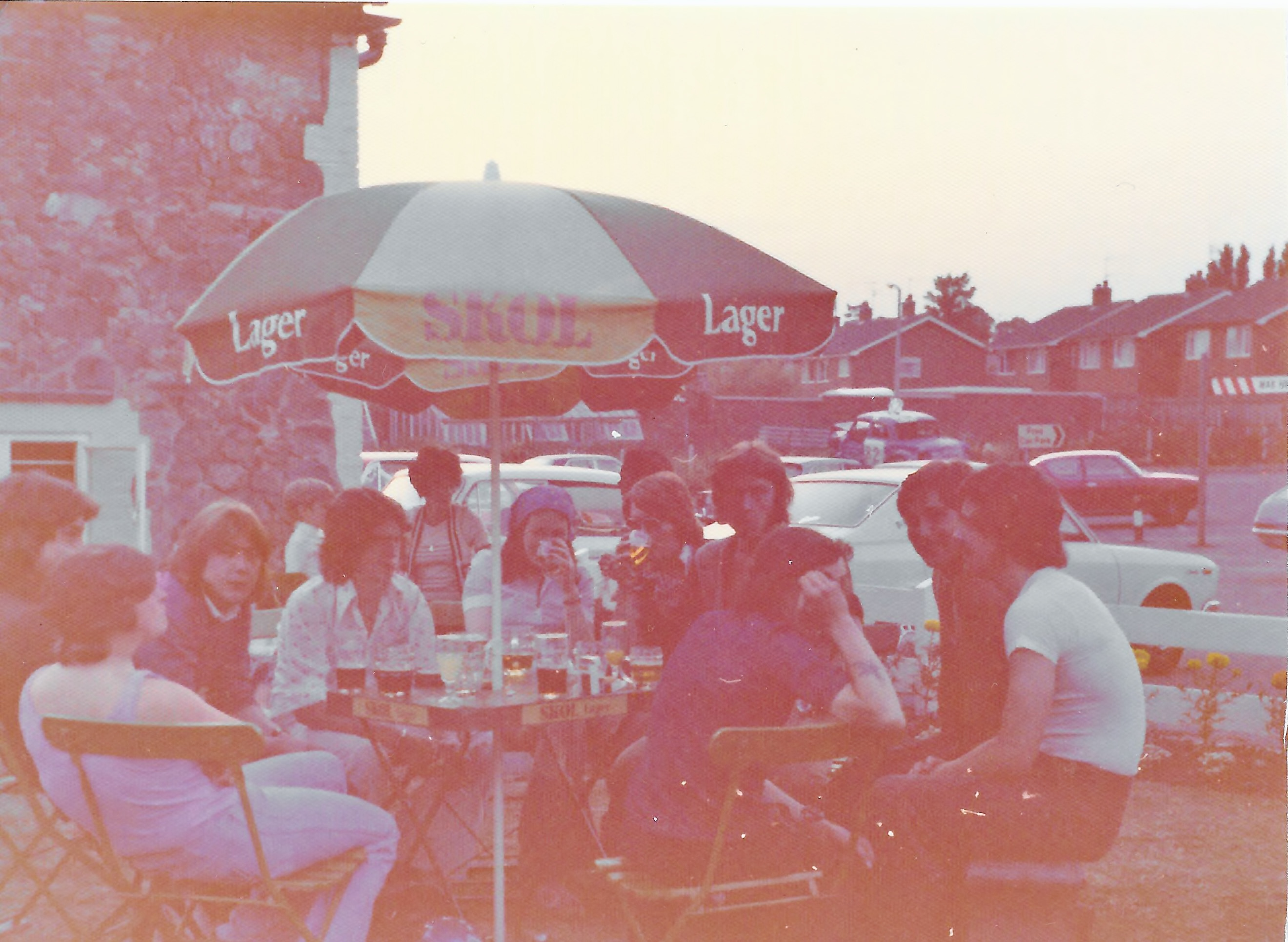 Three Crowns Lawn, Aug, 75. L To R. Andy Freer?, Pete Rich? Jack, Mick, Elaine Kay, Sunglsses/Unknown, Vern, Arm Covering Face?, Smiling/Unknown, Tich.